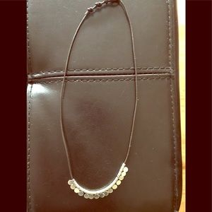 Stella and Dot silver and leather necklace